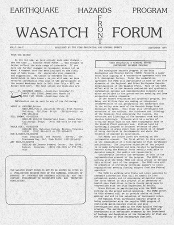 Wasatch Front Forum 1984 Vol. 1, No. 2