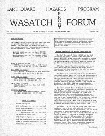 Wasatch Front Forum March 1984 Vol. 1, No. 3