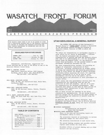 Wasatch Front Forum Spring 1985, Vol. 1, No. 4