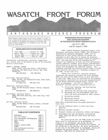 Wasatch Front Forum Fall 1985, Vol. 2, No. 1