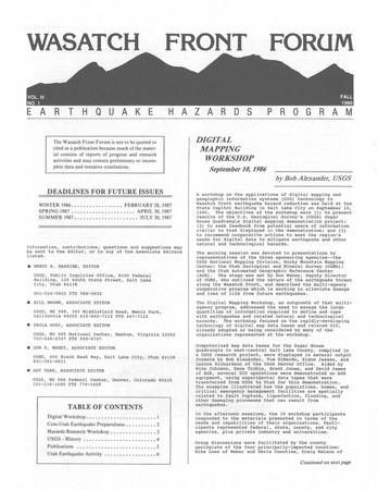 Wasatch Front Forum Fall 1986, Vol. 3, No. 1