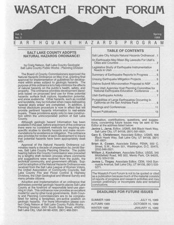 Wasatch Front Forum Spring 1989, Vol. 5, No. 3