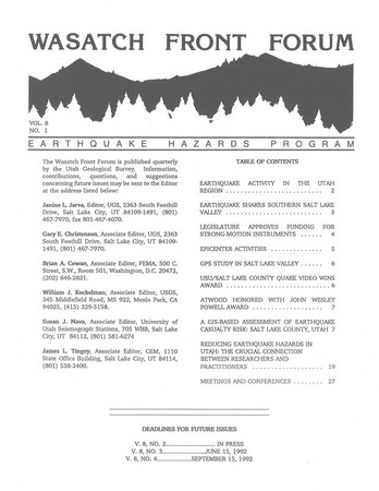 Wasatch Front Forum 1992, Vol. 8, No. 1